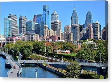 Philly With Walking Trail Canvas Print by Frozen in Time Fine Art Photography
