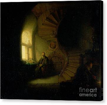 Philosopher In Meditation Canvas Print by Rembrandt