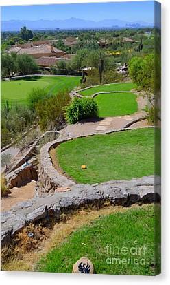 Phoenician Golf Club - Signature Hole - Desert 8 Canvas Print by Mary Deal
