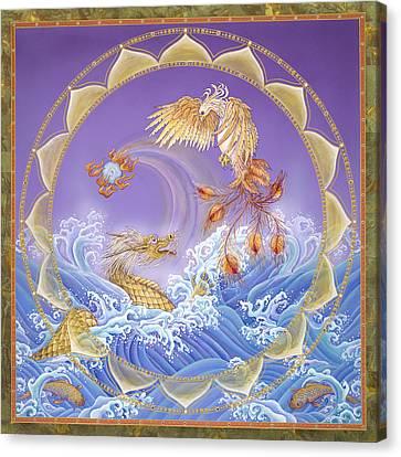 Tantra Canvas Print - Phoenix And Dragon by Nadean O'Brien