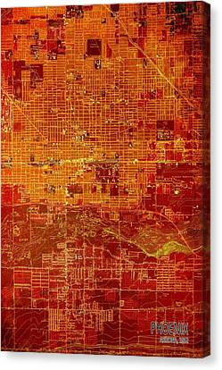 Igers Canvas Print - Phoenix Arizona 1952 Red And Orange Old Map by Pablo Franchi