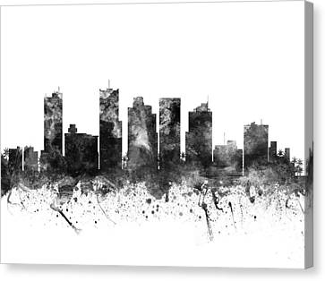 Phoenix Arizona Cityscape 02bw Canvas Print by Aged Pixel
