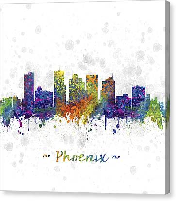 Phoenix Arizona Skyline Color 03sq Canvas Print by Aged Pixel