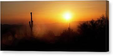 Sunflare Canvas Print - Phoenix Arizona Skyline Sunset Horizontal Banner by Susan Schmitz