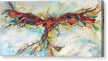 Canvas Print featuring the painting Phoenix Rainbow by Christy Freeman