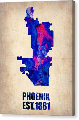 Phoenix Canvas Print - Phoenix Watercolor Map by Naxart Studio