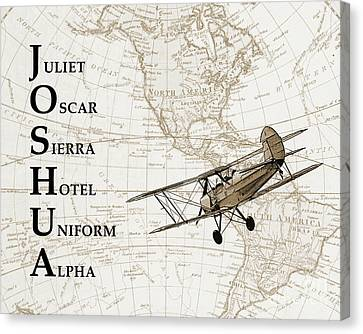 Vintage Airplane Canvas Print - Phonetic Alphabet Custom Name by Delphimages Photo Creations