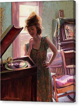 Woman Canvas Print - Phonograph Days by Steve Henderson