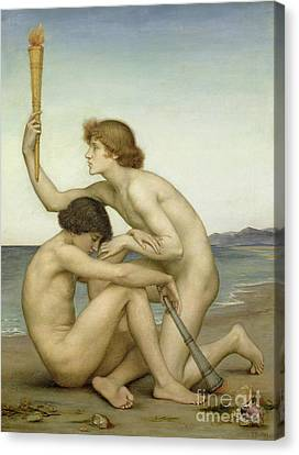 Phosphorus And Hesperus Canvas Print by Evelyn De Morgan