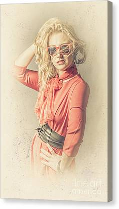 Youthful Canvas Print - Photo Of Beautiful Girl In Vintage Fashion Style by Jorgo Photography - Wall Art Gallery