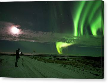 Canvas Print featuring the photograph Photographer Under The Northern Light by Dubi Roman