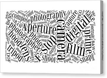 Photography Word Cloud Canvas Print by Edward Fielding