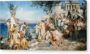 Phryne At The Festival Of Poseidon In Eleusin Canvas Print by Henryk Siemieradzki