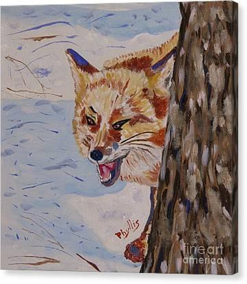 Phyllis Laughing Fox Canvas Print by Phyllis Kaltenbach