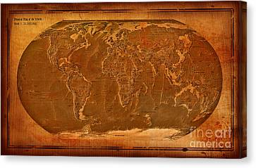 Physical Map Of The World Antique Style Canvas Print by Theodora Brown