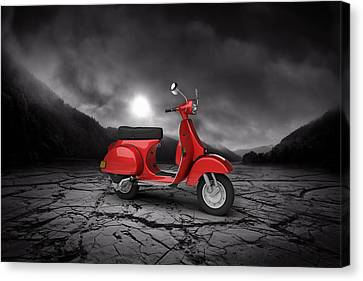 Piaggio Vespa P125x 1978  Mountains Canvas Print by Aged Pixel