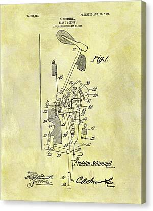 Classical Music Canvas Print - Piano Action Patent by Dan Sproul