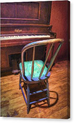 Piano And Chair - Vintage Canvas Print by Nikolyn McDonald