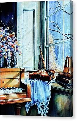 Piano In The Sun Canvas Print by Hanne Lore Koehler