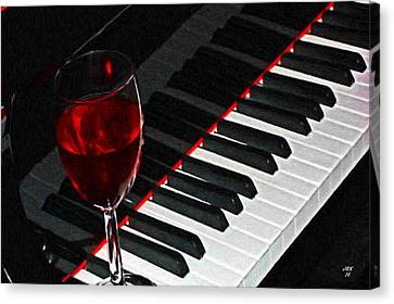 Piano Keyboard And Glass Of Red Wine Canvas Print