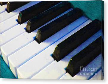 Piano Keys . V2 . Blue Canvas Print by Wingsdomain Art and Photography