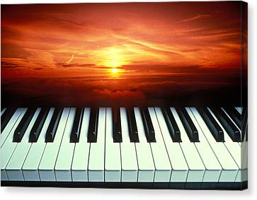 Piano Keys Sunset Canvas Print by Garry Gay