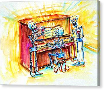 Canvas Print featuring the painting Piano Man by Heather Calderon