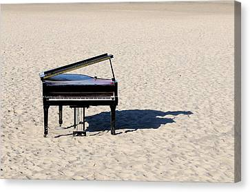 Piano Canvas Print - Piano On Beach by Hans Joachim Breuer