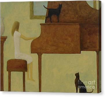 Piano Two Cats Canvas Print by Glenn Quist