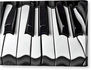 Surrealistic Canvas Print - Piano Wave Black And White by Garry Gay