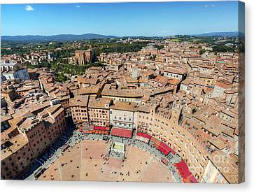 Piazza Del Campo, Campo Square In Siena, Tuscany, Italy Canvas Print by Michal Bednarek