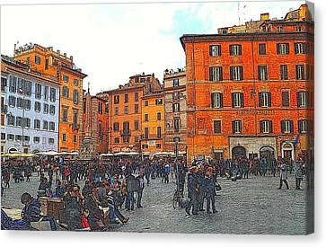 Piazza Della Rotunda In Rome 2 Canvas Print by Jen White