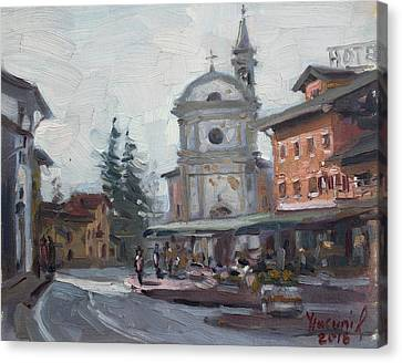 Piazza Di Limana Canvas Print by Ylli Haruni