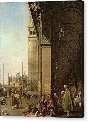 Piazza Di San Marco And The Colonnade Of The Procuratie Nuove Canvas Print by Canaletto