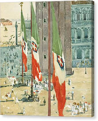 San Marco Canvas Print - Piazza Di San Marco by Maurice Brazil Prendergast