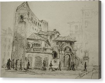 Piazza Fiume Rome Canvas Print by Ylli Haruni