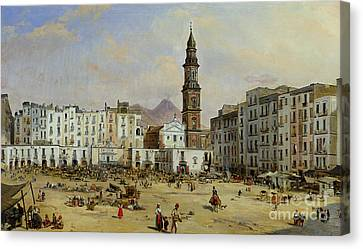 Italian Street Canvas Print - Piazza Mazaniello In Naples by Jean Auguste Bard