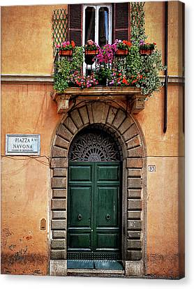 Canvas Print featuring the photograph Piazza Navona House by Marion McCristall
