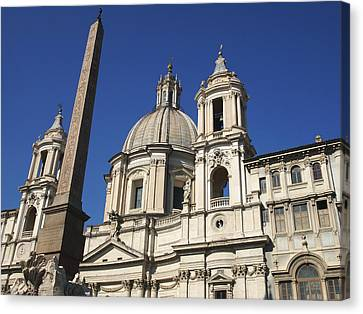 Piazza Navona. Navona Place. Church St. Angnese In Agona And Egyptian Obelisk. Rome Canvas Print by Bernard Jaubert