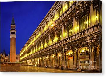 Piazza San Marco By Night Canvas Print by Inge Johnsson