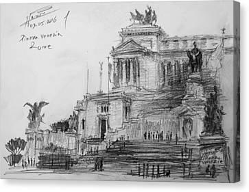 Piazza Venezia Rome Canvas Print by Ylli Haruni