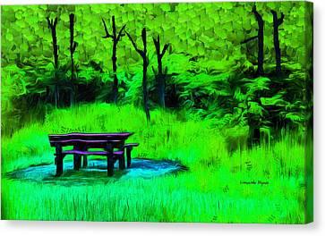 Pic-nic Green - Da Canvas Print by Leonardo Digenio