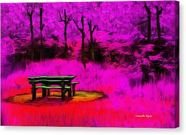 Bench Canvas Print - Pic-nic Violet - Pa by Leonardo Digenio