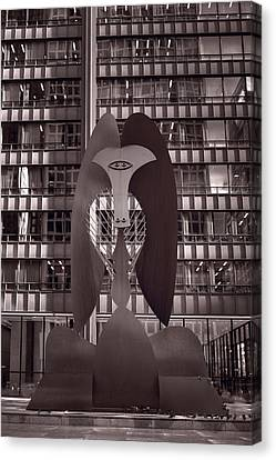 Picasso Chicago Bw Canvas Print by Steve Gadomski