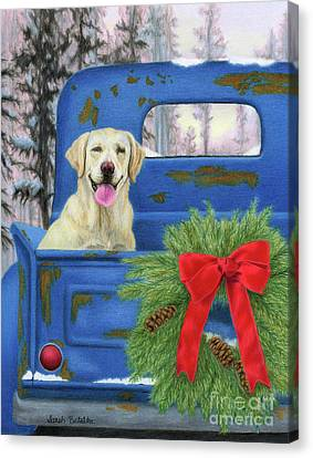 Christmas Dog Canvas Print - Pick-en Up The Christmas Tree by Sarah Batalka