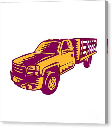 Linocut Canvas Print - Pick-up Truck Woodcut by Aloysius Patrimonio