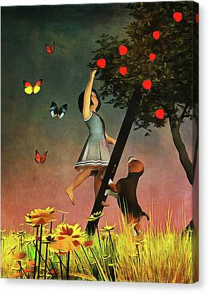 Picking Apples Together Canvas Print