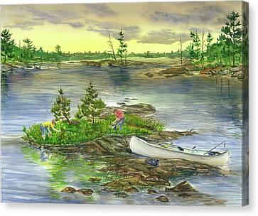 Picking Blueberry Island Canvas Print by Bud Bullivant