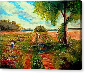 Picking Flowers Canvas Print