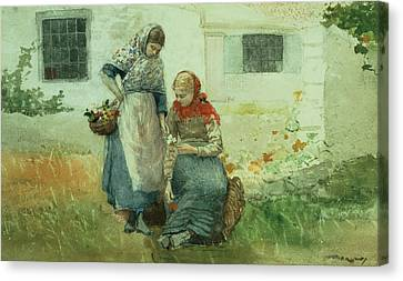 Picker Canvas Print - Picking Flowers by Winslow Homer